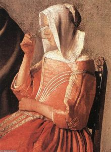 Jan Vermeer - A Lady Drinking and a Gentleman (detail)
