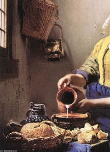 The milkmaid oil on canvas by jan vermeer 1632 1675 for Biographie de vermeer