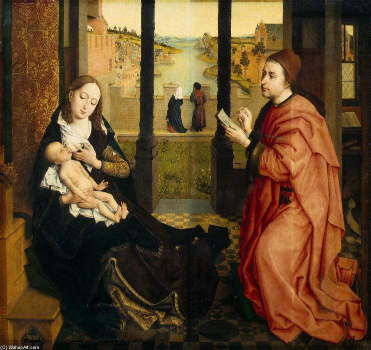 St Luke Drawing a Portrait of the Madonna, Oil On Canvas by Rogier Van Der Weyden (1400-1464, Belgium)
