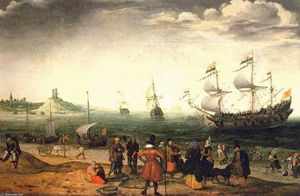Adam Willaerts - Coastal Landscape with Ships