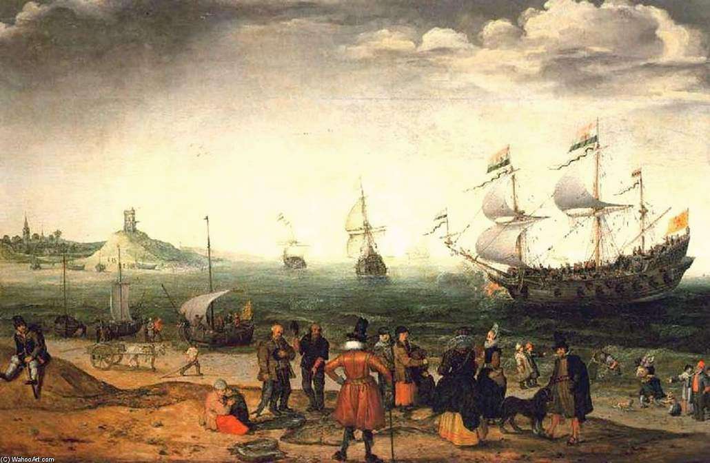 Coastal Landscape with Ships, 1616 by Adam Willaerts (1577-1664, United Kingdom) | Famous Paintings Reproductions | WahooArt.com