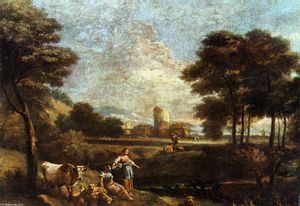Giuseppe Zais - Landscape with Shepherds and Fishermen