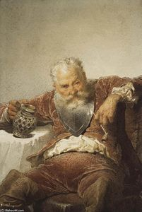 Mihaly Von Zichy - Falstaff with a Tankard of Wine and a Pipe