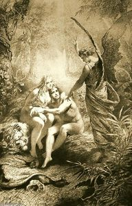 Mihaly Von Zichy - Illustration to Imre Madách-s The Tragedy of Man: In the Paradise (Scene 2)