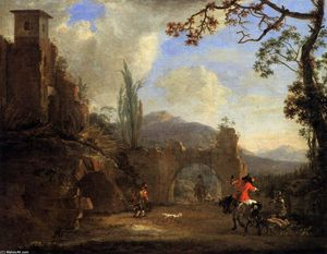 Jan Asselijn - Landscape with Ruins and Hunting Party