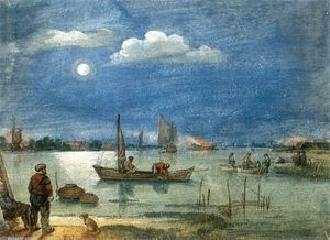 Hendrick Avercamp - Fishermen by Moonlight