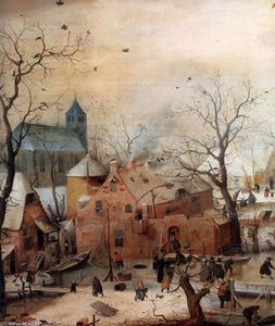 Hendrick Avercamp - Winter Landscape with Skaters (detail)