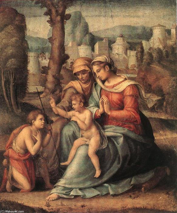 Madonna with Child, St Elisabeth and the Infant St John the Baptist, 1530 by Francesco D'ubertino Verdi (Bacchiacca) (1494-1557, Italy) | Art Reproductions Francesco D'ubertino Verdi (Bacchiacca) | WahooArt.com