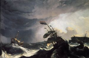 Ludolf Backhuysen - Ships in Distress in a Raging Storm