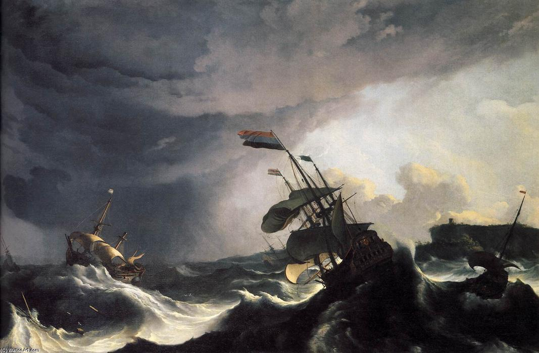 Ships in Distress in a Raging Storm, 1690 by Ludolf Backhuysen (1630-1708, Germany) | Museum Quality Reproductions | WahooArt.com