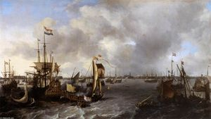 Ludolf Backhuysen - View of Amsterdam with Ships on the Ij