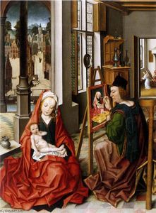 Saint Luke Painting the Virgin, Oil On Panel by Derick Baegert  (order Fine Art fine art print Derick Baegert)