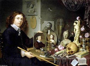 Order Famous Paintings Reproductions : Self-Portrait with Vanitas Symbols, 1651 by David Bailly (1584-1657, Netherlands) | WahooArt.com