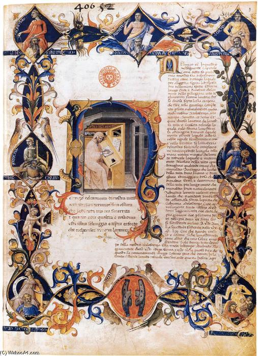 Order Art Reproductions | Inferno, from the Divine Comedy by Dante (Folio 3v), 1430 by Bartolomeo Di Fruosino (1366-1441, Italy) | WahooArt.com