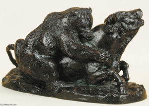 Antoine Louis Barye - Bull Attacked by a Bear