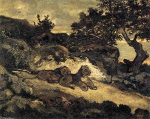 Antoine Louis Barye - Lions near their Den