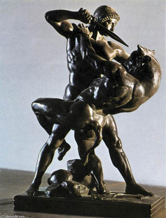Theseus Slaying the Minotaur, 1841 by Antoine Louis Barye (1796-1875, France) | Museum Quality Reproductions | WahooArt.com