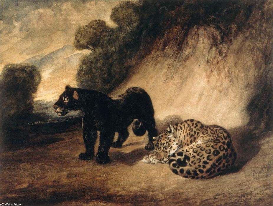 Two Jaguars from Peru, 1833 by Antoine Louis Barye (1796-1875, France) | Oil Painting | WahooArt.com