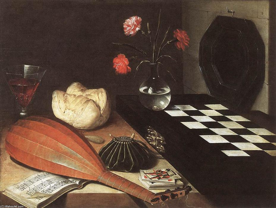Still-life with Chessboard (The Five Senses), Oil On Panel by Lubin Baugin (1612-1663, France)