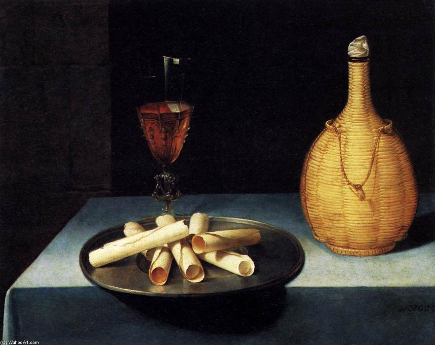 Still-Life with Wafer Biscuits (Le Dessert de Gaufrettes), Oil On Panel by Lubin Baugin (1612-1663, France)
