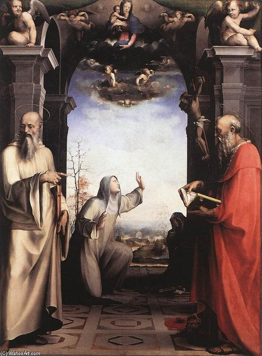 Stigmatization of St Catherine of Siena, Oil by Domenico Di Pace Beccafumi (1486-1551, Italy)