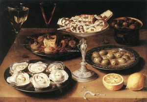 Osias Beert The Elder - Still-Life with Oysters and Pastries