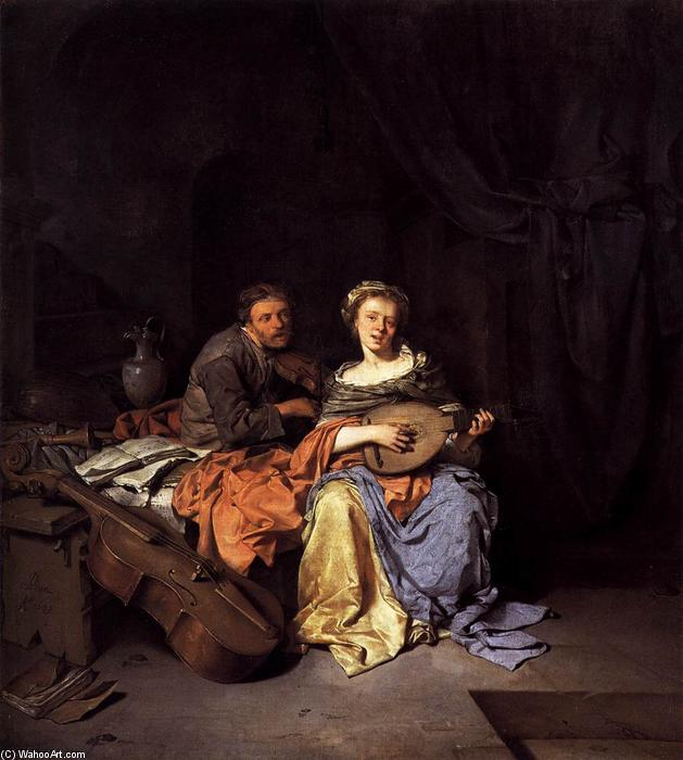 The Duet, 1663 by Cornelis Pietersz Bega (1630-1664, Netherlands) | Reproductions Cornelis Pietersz Bega | WahooArt.com