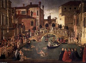 Gentile Bellini - Miracle of the Cross at the Bridge of San Lorenzo