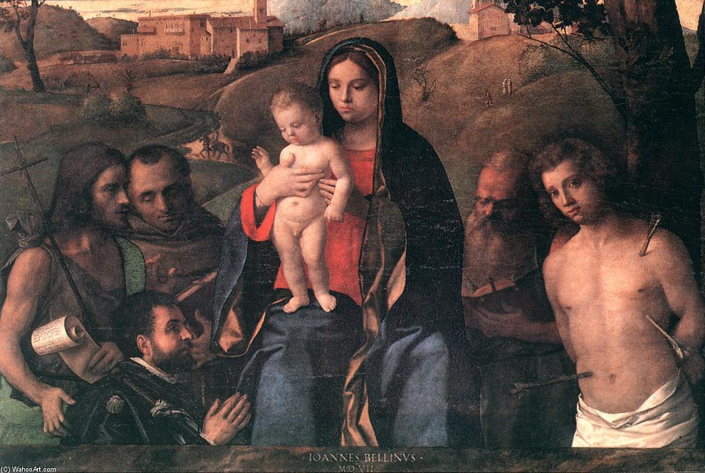 Madonna and Child with Four Saints and Donator, 1507 by Giovanni Bellini (1433-1516, Italy) | Museum Quality Reproductions | WahooArt.com