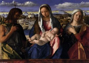 Giovanni Bellini - Madonna and Child with St John the Baptist and a Saint
