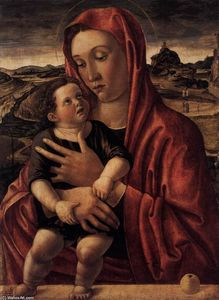 Giovanni Bellini - Madonna, with Child Standing on a Parapet
