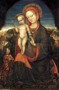 Jacopo Bellini - Madonna and Child Adored by Lionello d'Este