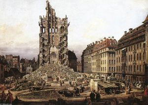 Bernardo Bellotto - The Ruins of the Old Kreuzkirche in Dresden
