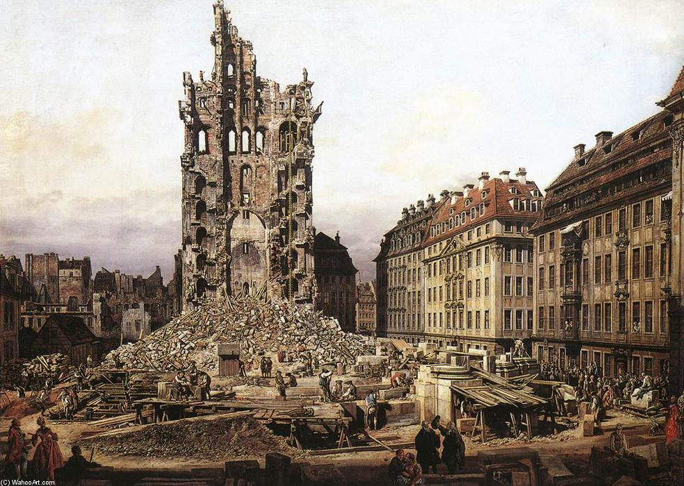 The Ruins of the Old Kreuzkirche in Dresden, Oil On Canvas by Bernardo Bellotto (1721-1780, Italy)