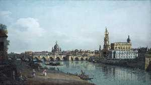 Bernardo Bellotto - View of Dresden from the Right Bank of the Elbe with the Augustus Bridge