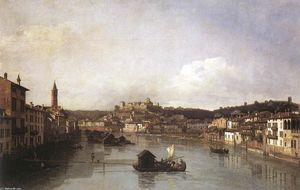 Bernardo Bellotto - View of Verona and the River Adige from the Ponte Nuovo