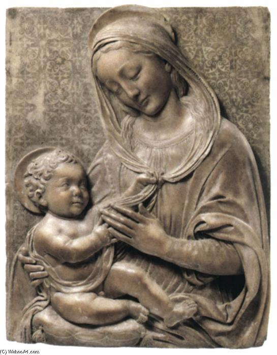 Madonna and Child, 1485 by Benedetto Da Maiano (1446-1497, Italy) | Famous Paintings Reproductions | WahooArt.com