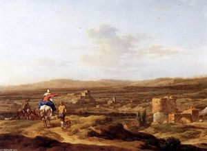 Nicolaes Berchem - Italian Landscape with Mountain Plateau