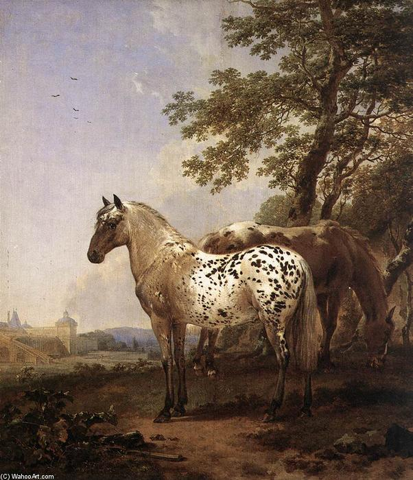 Landscape with Two Horses by Nicolaes Berchem (1620-1683, Netherlands) | Museum Quality Reproductions | WahooArt.com