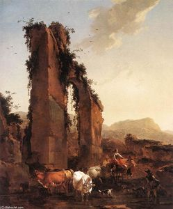 Nicolaes Berchem - Peasants with Cattle by a Ruined Aqueduct