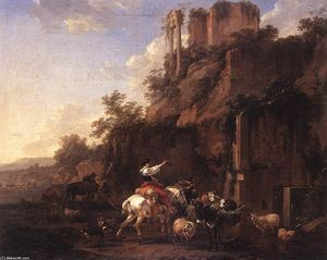 Nicolaes Berchem - Rocky Landscape with Antique Ruins
