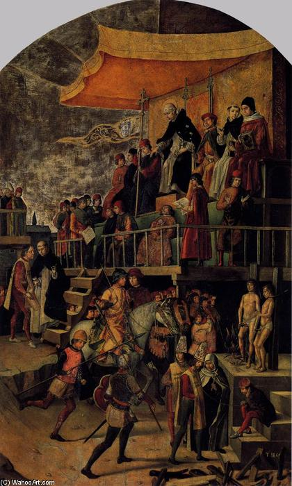 Burning of the Heretics (Auto-da-fé), 1500 by Pedro Berruguete (1450-1504, Spain) | Oil Painting | WahooArt.com