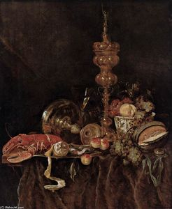 Abraham Hendriksz Van Beijeren - Still-Life with Lobster and Fruit