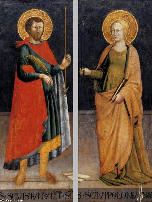 Sts Sebastian and Apollonia, Tempera by Neri Di Bicci (1418-1492)