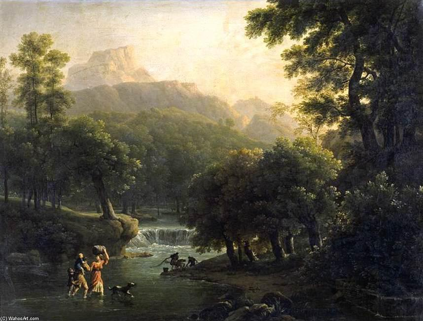 Landscape with Figures Crossing a River by Joseph Pierre Xavier Bidauld (1758-1846) | Painting Copy | WahooArt.com