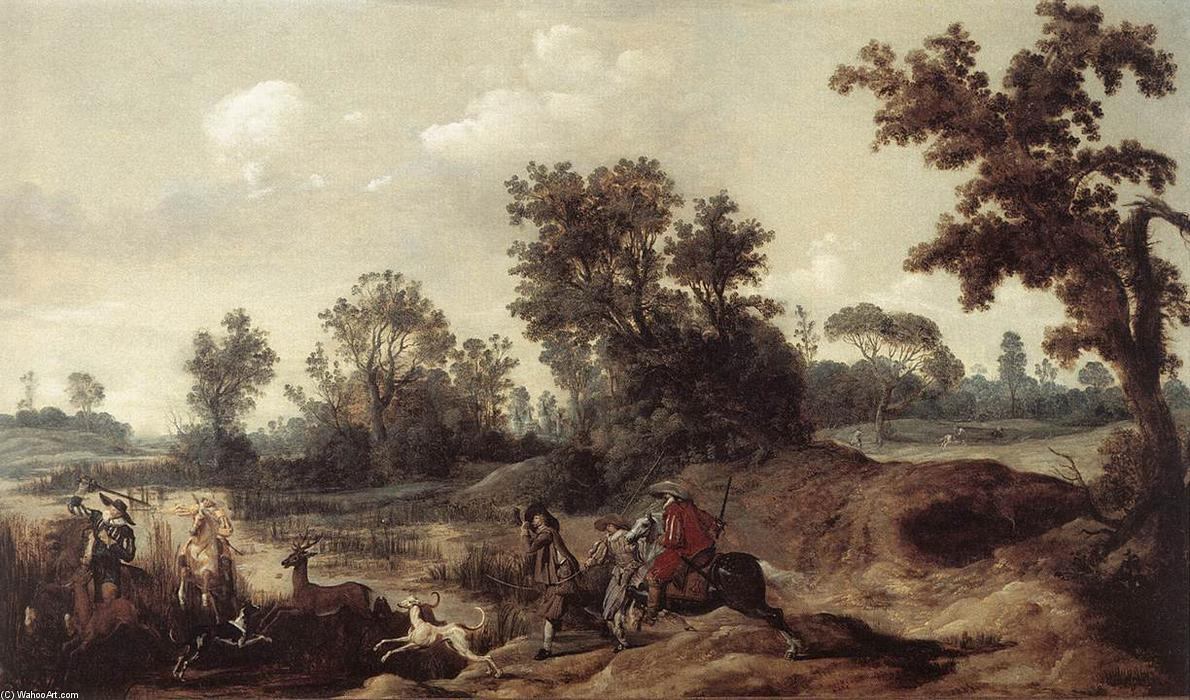 Stag Hunting in the Dunes, Oil On Panel by Gerrit Claesz Bleker (1593-1656, Netherlands)