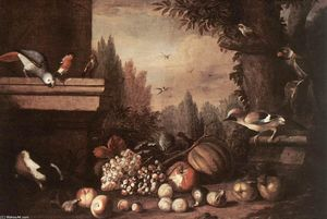 Jakob Bogdany - Fruit with Birds and Guinea-pig