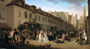 Louis Léopold Boilly - The Arrival of a Stage-coach in the Courtyard of the Messageries