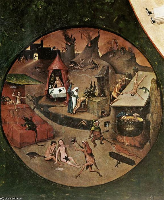 The Seven Deadly Sins (detail), 1480 by Hieronymus Bosch (1450-1516, Netherlands) | Oil Painting | WahooArt.com