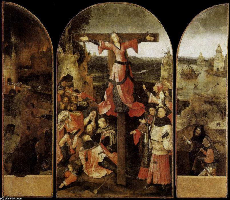 Triptych of the Martyrdom of St Liberata, Oil On Panel by Hieronymus Bosch (1450-1516, Netherlands)